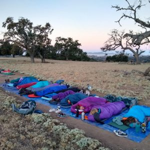Students in multicolored sleeping bags sleep while the morning light starts to hit on the horizon. Oak trees in the distance.